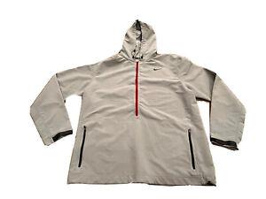 Nike Mens Gray Anorak Windbreaker Full Zip Hoodie Jacket 1/2 Zip Size XL 543484