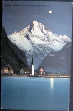 SWITZERLAND~ 1900's FLUELEN ~Bristenstock~ Swiss Alps in Full Moon~ Church ~Lake
