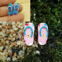 2 Pairs Miniature Dollhouse Resin Slippers Home Decor Fairy Garden Bonsai