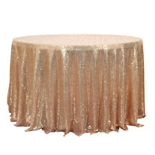 Champagne Sequin Round Tablecloth Party Wedding Christmas Home Table Cover 47''