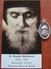Separated Medal & Prayer Card: Saint St. Charbel/Sharbel Mahlkouf