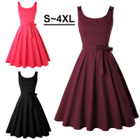 Women Vintage Summer Sleeveless Belted Pin Up Swing Dresses Cocktail Party Prom