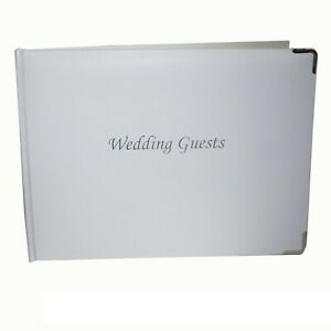 Wedding - Gift Boxed PU Padded Guest Book - White & Silver