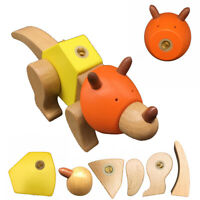 Dinosaur Wooden Building Blocks Set for Kids 33 Pcs Colorful Wooden Handmade Toy