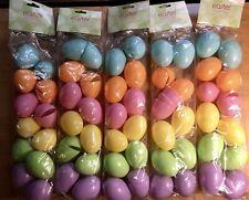 48 BULK Plastic Easter Basket Eggs Multi Color Pastel Fillable Empty Lot Filler