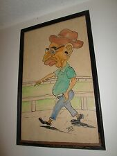 1963 Outsider Art Painting Old Man Walking Horse Track Signed Por Poncho Fedora