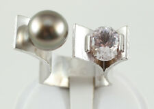 NEW Large Handmade Sterling Silver ring with kunzite stone and black pearl