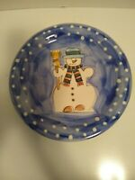 4 Tabletops Unlimited Winterland Christmas Snowman 10.5 In Dinner Plates
