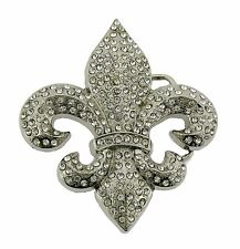Fleur de Lis Belt Buckle French Flower Lilly Saint Sign Silver Fashion New Mens