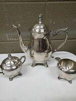 F B Rogers Silver Plate Teapot W/ Sugar and Creamer Bowl (a326)