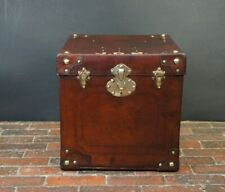 Large Antique French Leather Hatbox Trunk