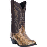 Laredo Mens Monty Western Cowboy Boots Leather Snake Print Snip Toe Brown/Bronze