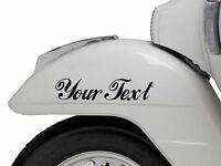 2X CUSTOM VINYL DECAL sticker scooter vespa lamberetta CHOOSE COLOUR FONT