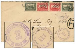 NEWFOUNDLAND 14¢ REG'D 2-RING EAST END POST OFFICE JAN 1931