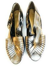 Vintage Metallic Silver MASERATI Leather Strappy Slip On Shoes Made In ITALY 11N