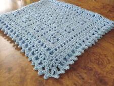 Handmade NEW crochet Blue baby blanket  Afghan  Sweet Dreams Baptism lap throw