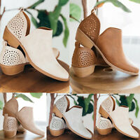 Women's Chunky Low Mid Block Heels Ankle Boots Casual Slip On Boots Shoes Size