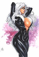 BLACK CAT SEXY COLOR INK PINUP ART  ORIGINAL COMIC PAGE BY LANIO SENA
