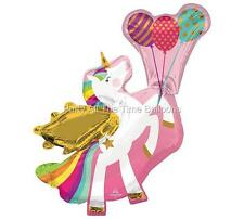 "34"" WINGED Unicorn Pink Balloon NEW Design Pegasus FREE SHIPPING"
