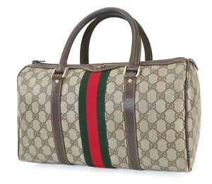 Auth Vintage GUCCI Brown GG PVC Canvas Leather Boston Hand Bag Purse #40597