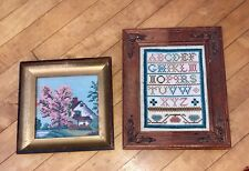 Two ONE OF A KIND PIECES OF AMERICANA TAPESTRY/NEEDLEPOINT-ALPHABET & HOME