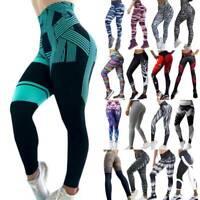 Women's High Waist Yoga Pants Print Sports Running Gym Stretch Leggings Trousers