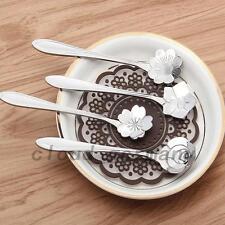 4 PCS Cuillères à Café Sucre Glace Dessert Qualité Acier Inox Fleurs Sakura Rose