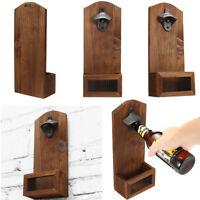 Beer Bottle Opener Drink Cap Catcher Wooden Iron Wall Mounted Rustic Bar Decor