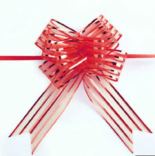 10x Hot Organza Yarn Pull Bows Ribbons Wedding Party Flower Decor Gift Wraps Red