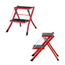 Step Stool Home Ladder Compact Folding 2steps Red Kitchen Office Garden PC-334RD