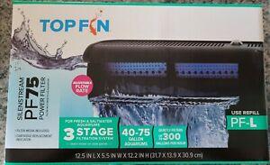 Top Fin Silenstream PF75 HOB Aquarium Power Filter 40-75 Gallon 300GPH Brand New