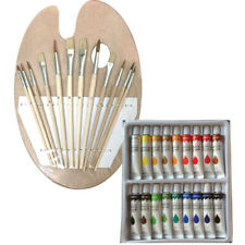18 Acrylic Color Painting Paint Set + 12 Brush Set with Wood Palette Artist Set