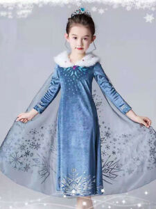 UK Girls 2021 Frozen 2 Princess Elsa Fancy Dress Up Outfit Cosplay Costume Party