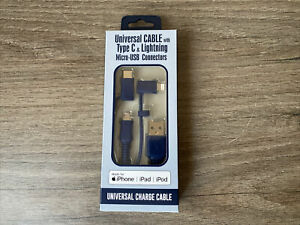 🟢 UNIVERSAL CHARGE NAVY CABLE - Type C, Micro USB n' Lightning Connectors 3ft