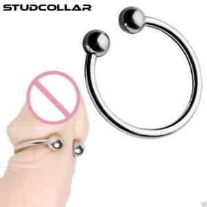 STUDCOLLAR-TWIN-BALL-RING - Stainless Steel Penis Glans Ring in FIVE sizes !!!