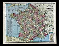 1903 Tunison Map - France - Paris Marseille Lyon Tours Amiens Rouen Chartres FR