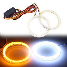 2 Pcs COB LED Angel Eyes Ring Light Drive White + Yellow Turn Signal Halo 70mm