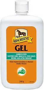 Absorbine Gel Embrocation Soothes Animal Muscles Horses Dogs - 340g