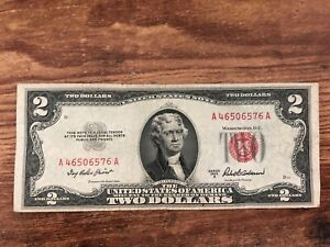 Vintage 1953 A SILVER CERTIFICATE $2 Two Dollar Bill Note RED SEAL Series A-A