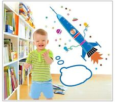 Huge Spaceship Rocket Height Chart Wall Stickers Kids Measurement Wall Decals