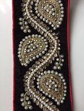 ATTRACTIVE INDIAN PAISLEY BLACK VALOUR & PEARLS/CRYSTALS TRIM/LACE -Sold By MTR