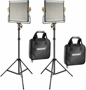 Neewer 2-Pack Dimmable Bi-color 480 LED Video Light Panel and Stand Lighting Kit