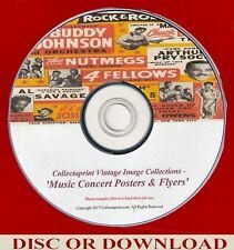 PRINT VINTAGE MUSIC / CONCERT POSTERS, FLYERS ☆ 200x Enhanced Images Disc   ☆