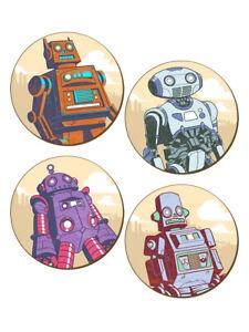 Classic Retro Robots - 4 Piece Coaster Set