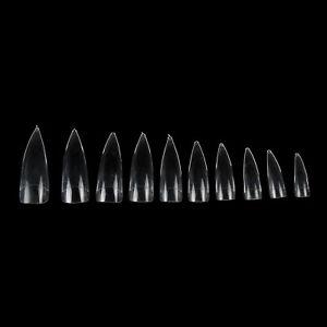 500PCS Eagle Claw Sharp False Tips Nail Art Gel Acrylic Tips Clear White Natural