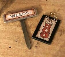 Dollhouse Artisan Miniature Halloween Stake and Sign!IGMA Robin Betterley