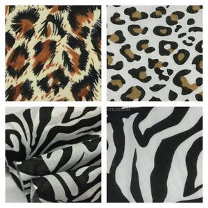 Animals Print Polycotton Fabric Crafts Dress Patchwork Masks Leopard Zebra 112cm