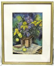 Beautiful Framed S H Mortensen Watercolor Painting Still Life Flowers On Table