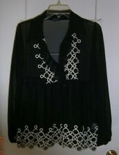 L@@K Grege Black Sheer Long Sleeve Contrast Blouse Size 2 Very Nice Style