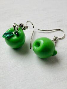 GREEN APPLE RESIN Earrings Moulded 3 D Kitsch Retro Size 1.0 x 1.0 cms